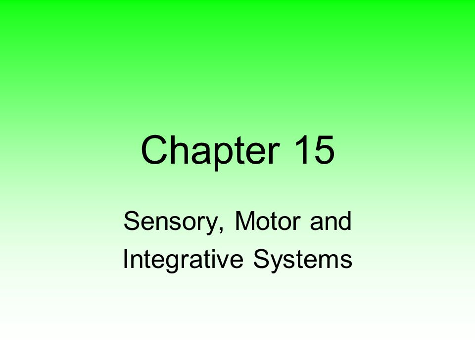 sensory motor and integrative systems Start studying anatomy chapter 16: sensory, motor, and integrative systems learn vocabulary, terms, and more with flashcards, games, and other study tools.