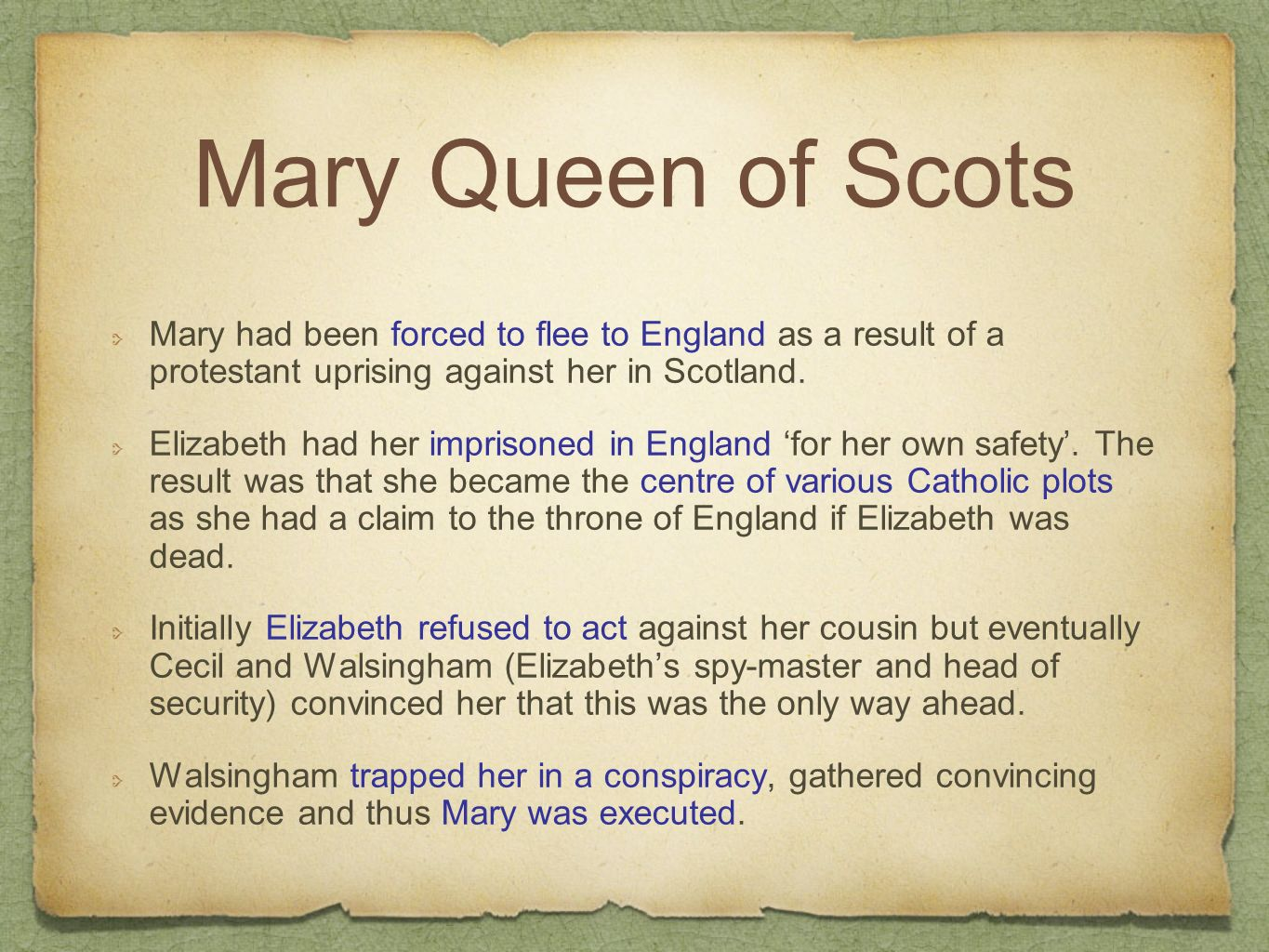 mary queen of scots vs. elizabeth i essay Mary, queen of scots was executed for many different reasons and in this essay i am going to explain some of the reasons as to why she was executed in 1587 mary queen of scots was a catholic, and her close relations to the very powerful french court strengthened their powers against england.
