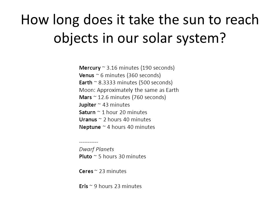 How long does light take to reach the Earth from the Sun ...