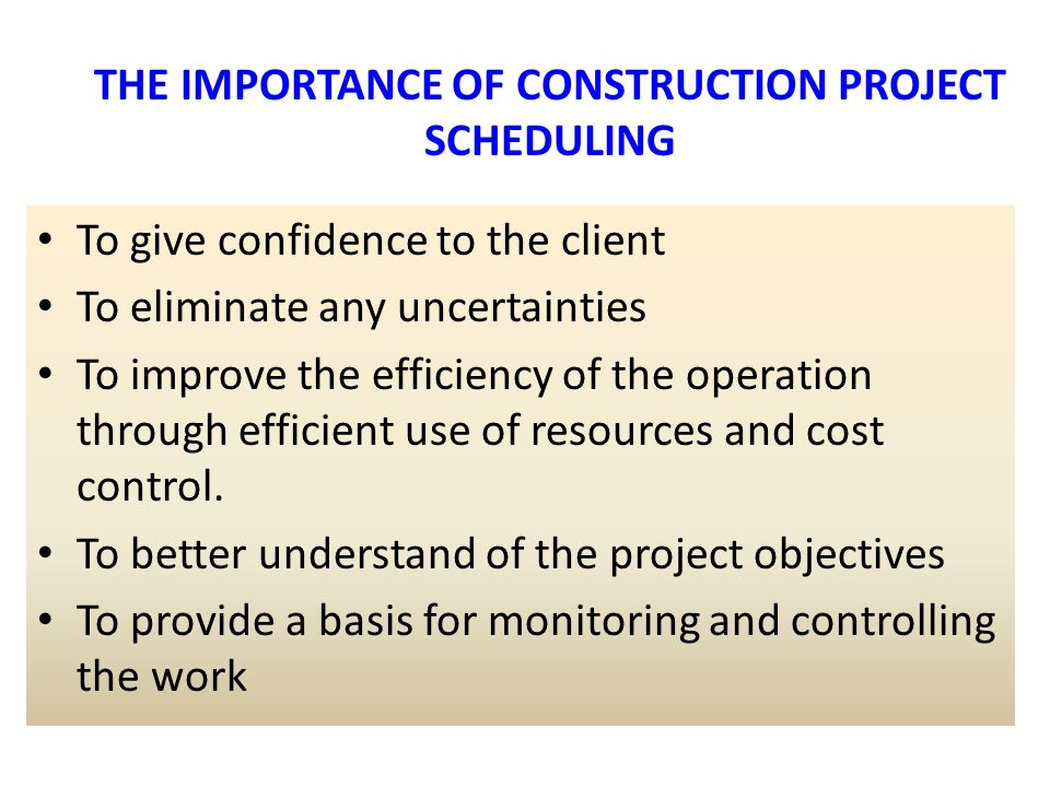 the importance of work schedules in construction The importance of time management (aspects  the key to good time management is not to work  the importance of time management (aspects of project management.