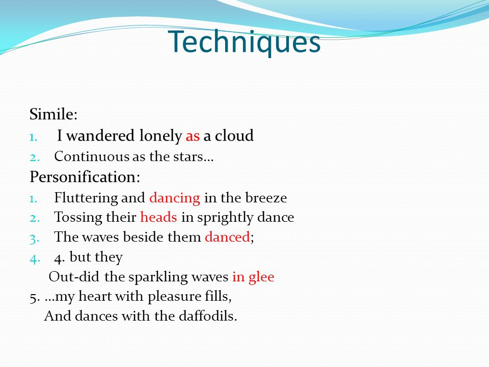 i wondered lonely as a cloud william wordsworth ppt techniques simile i wandered lonely as a cloud personification