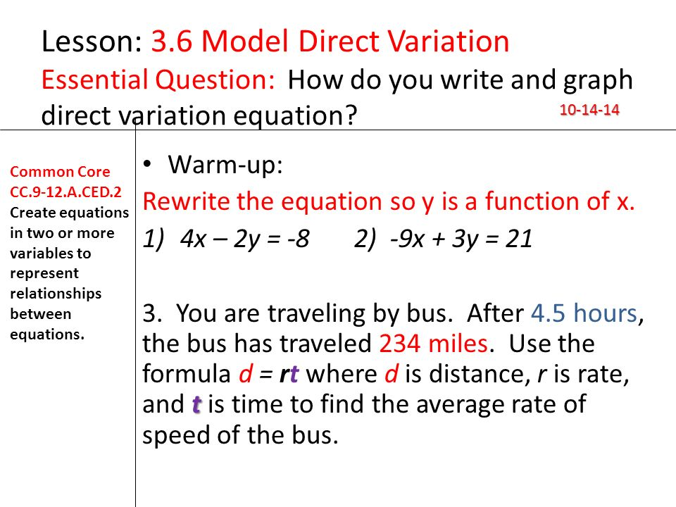 write and graph the equation for a direct variation relationship