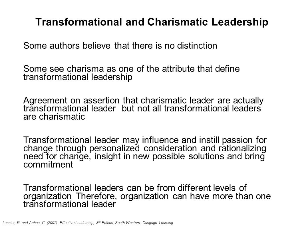 compare and contrast transformational leadership to charismatic leadership Lesson 5: charismatic and transformational leadership theories charismatic and transformational leadership theories charismatic vs transformational leadership.