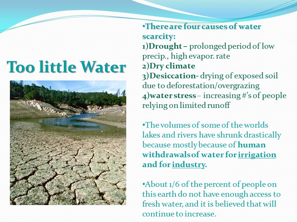 key causes of water scarcity and