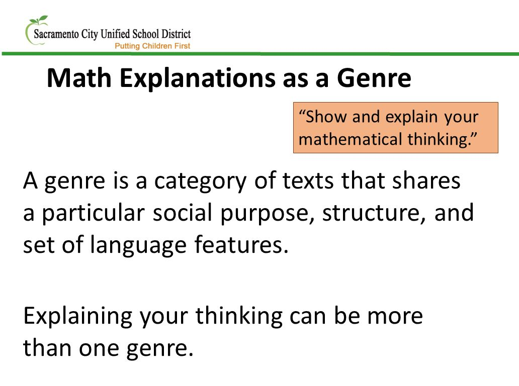 an explanation of the reasons why i like math Though there are a number of reasons why students may have difficulty in mathematics at different points in development, one concern that can affect the learning of all students (regardless of whether they have a mathematics learning disability, or mld) is a lack of conceptual understanding.