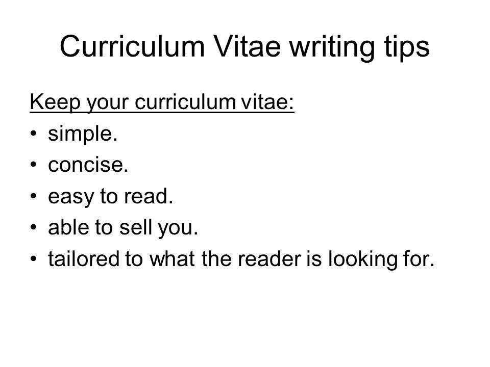 Curriculum Vitae Writing Ppt Evoo Tk