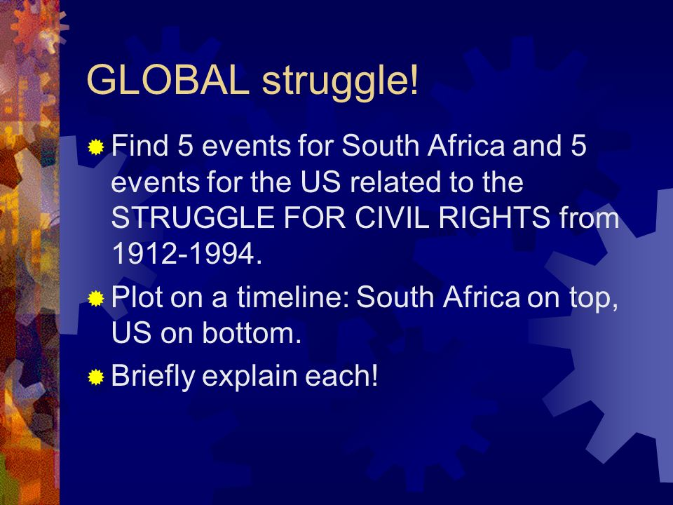 GLOBAL struggle! Find 5 events for South Africa and 5 events for the US related to the STRUGGLE FOR CIVIL RIGHTS from