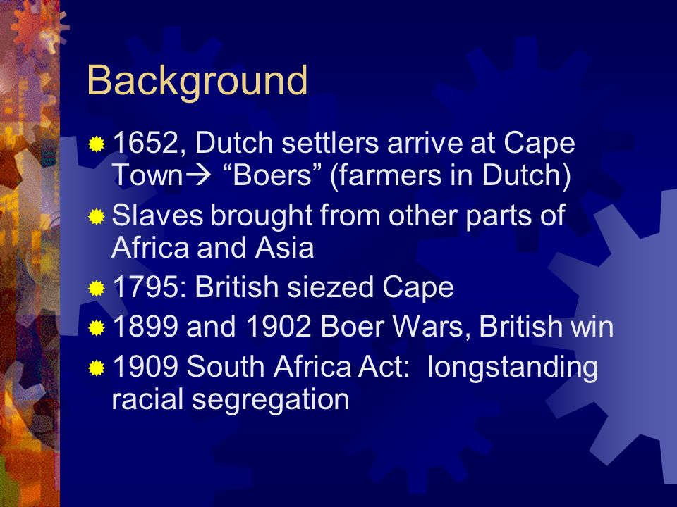 Background 1652, Dutch settlers arrive at Cape Town Boers (farmers in Dutch) Slaves brought from other parts of Africa and Asia.