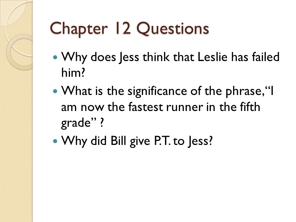 Chapter 12 Questions Why does Jess think that Leslie has failed him
