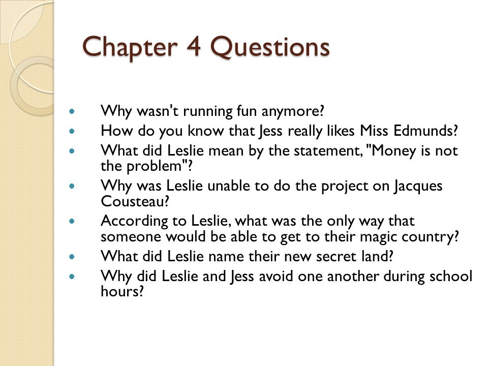 Chapter 4 Questions Why wasn t running fun anymore