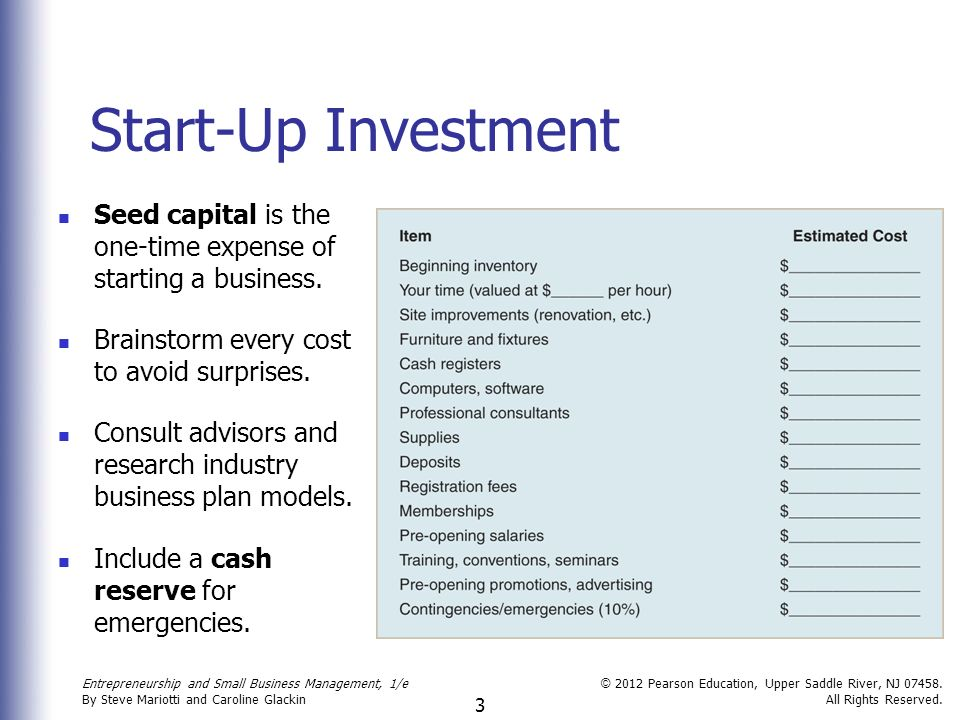 business start up expenses