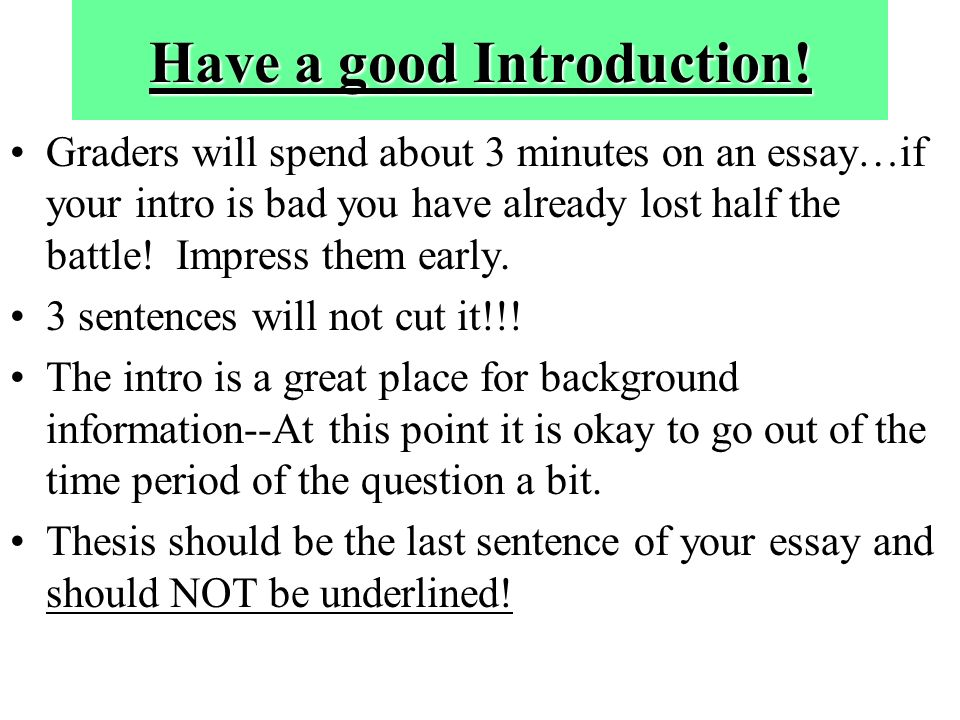 essay introduction last sentence The five-paragraph essay is a format of essay  the introduction serves to inform the  the last sentence of the first paragraph of such an essay would.