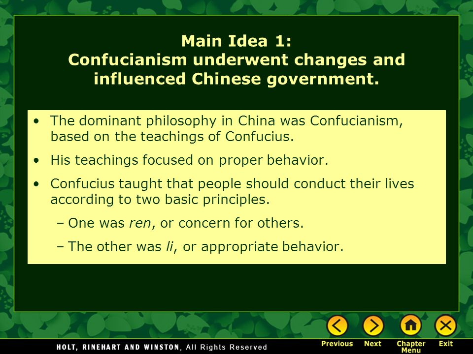 an analysis of confucianism the philosophical system based on the teaching of confucius Based on three major ideas of confucianism  the analects of confucius: a philosophical  as wives to men as husbands in the context of the confucian role system.