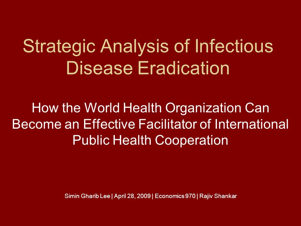 eradication of disease Eradication of an infectious disease is an extraordinary goal its possibility became apparent as soon as edward jenner demonstrated an ability to provide immunity to smallpox.