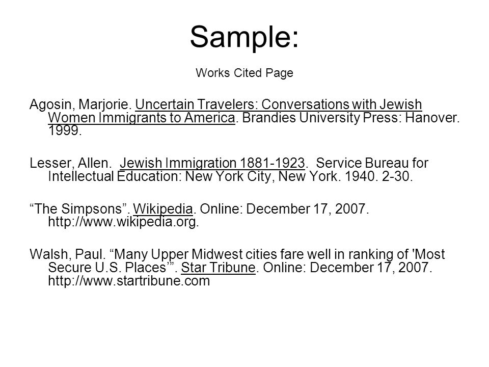 College essay works cited page