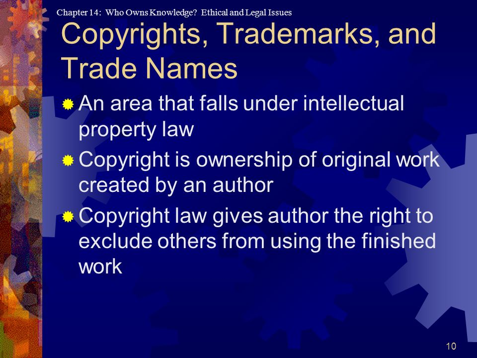Copyrights, Trademarks, and Trade Names