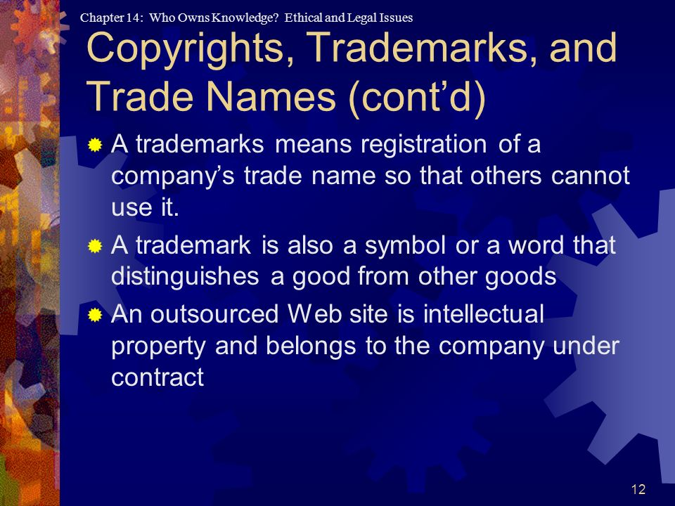 Copyrights, Trademarks, and Trade Names (cont'd)