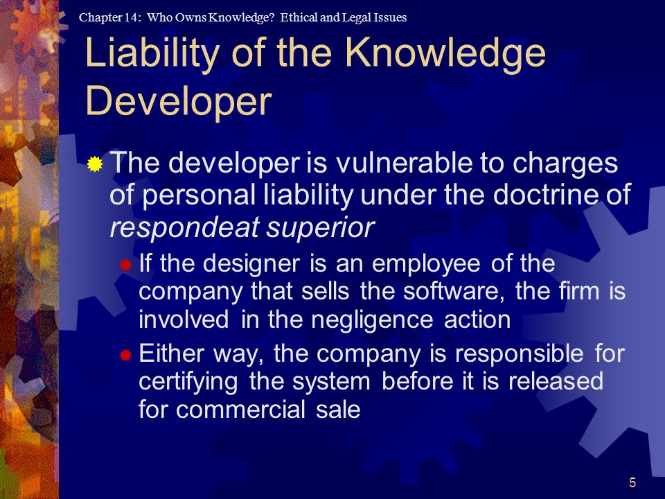 Liability of the Knowledge Developer