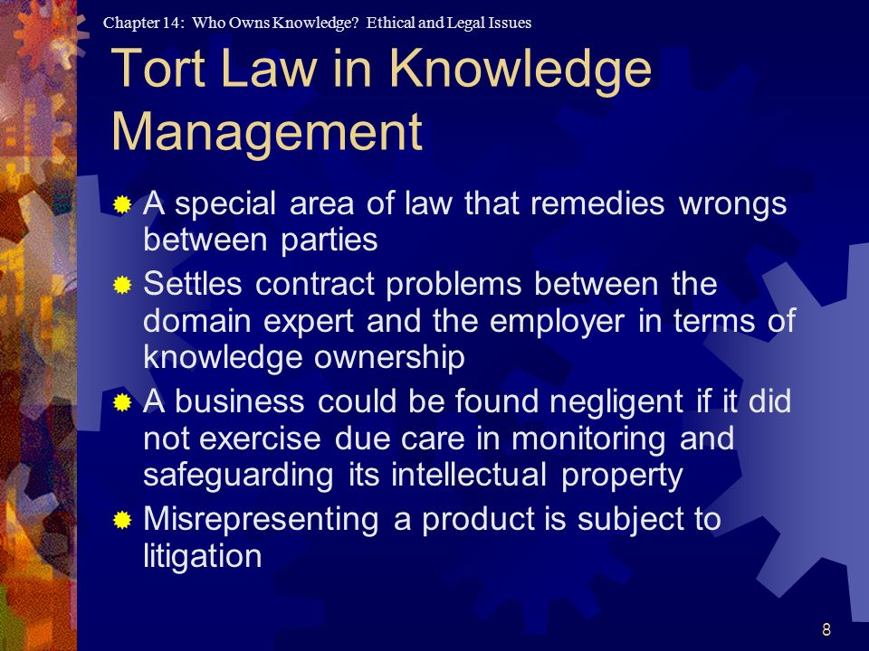 Tort Law in Knowledge Management
