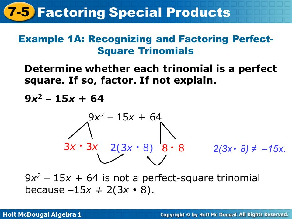 objectives factor perfect square trinomials ppt video online download. Black Bedroom Furniture Sets. Home Design Ideas