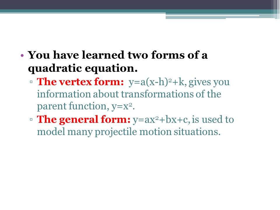 From Vertex to General Form - ppt download