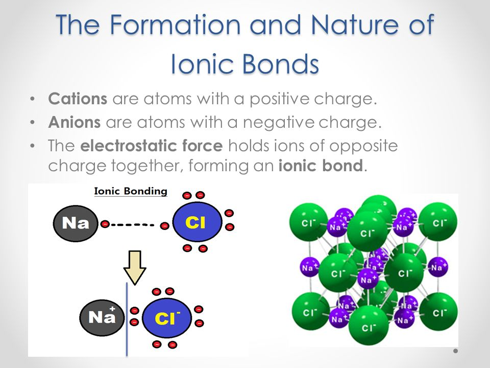 formation of ionic bonds Ionic compounds: formation but a continuous network of ions ionic compounds: structure no bonds in solid or liquid state nacl covalent compounds: real bonds.