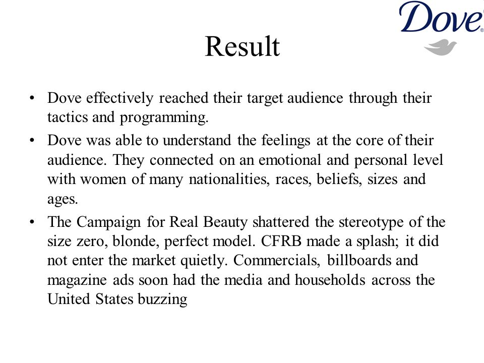 Result Dove effectively reached their target audience through their tactics and programming.