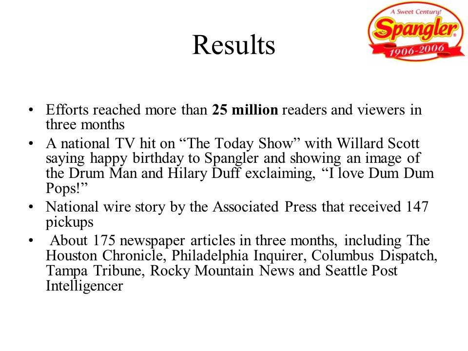 Results Efforts reached more than 25 million readers and viewers in three months.