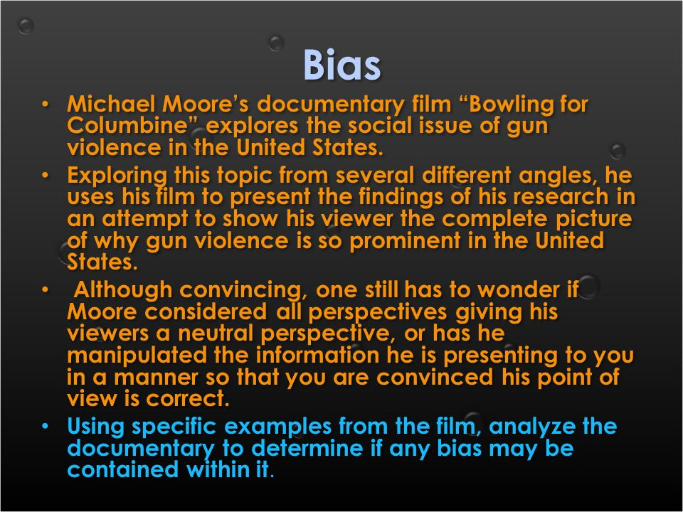 bowling for columbine thesis statements Bowling for columbine thesis statements nous avons un vaste choix d'accessoire de camion et d'automobile the film explores what the silent.