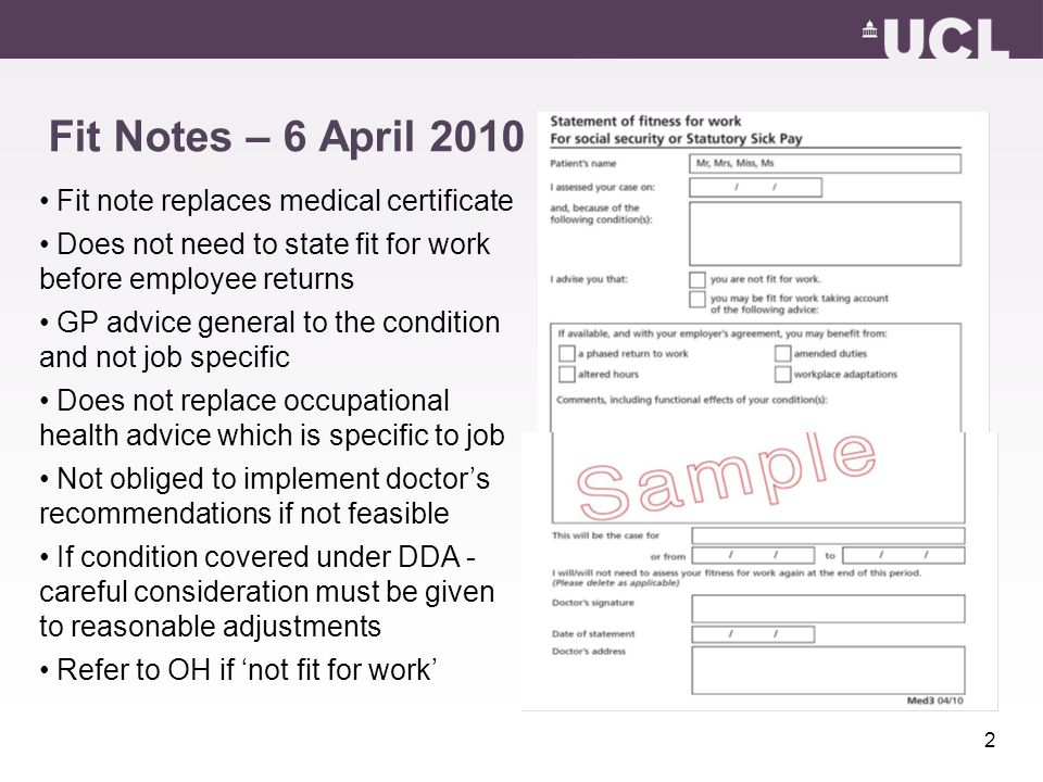 Policy Update Hr User Group 4 March 2010 Fit Notes - Ppt Download