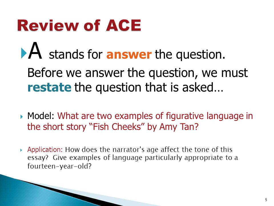 how to succinctly and effectively answer questions about reading 5 a