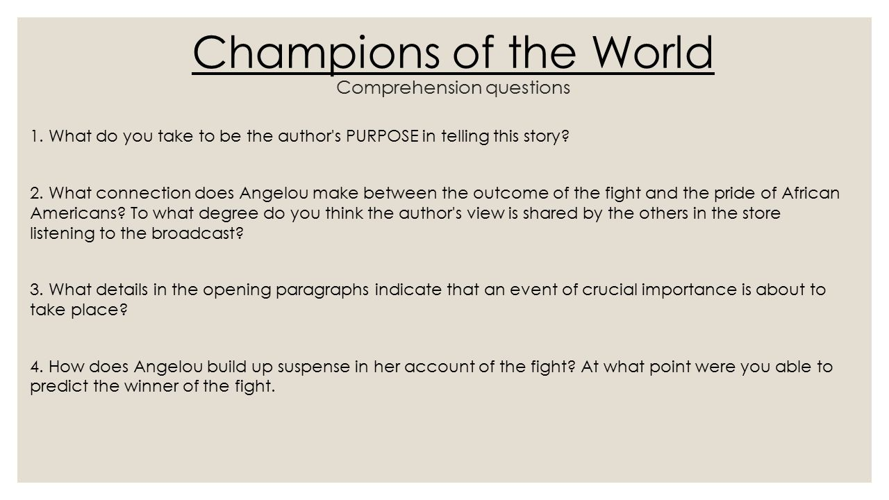 """essay on maya angelou champion of the world Free essay: assignment #1: maya angelou's """"champion of the world"""" questions  on meaning 1 what do you take to be the author's purpose in."""