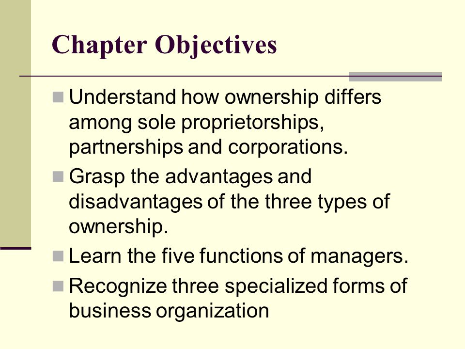what are the primary differences between sole proprietorship partnership and corporation forms of bu Forms of business organization sole proprietorship the and understand how tax rates vary based on whether the business is an s corporation, llc or partnership.