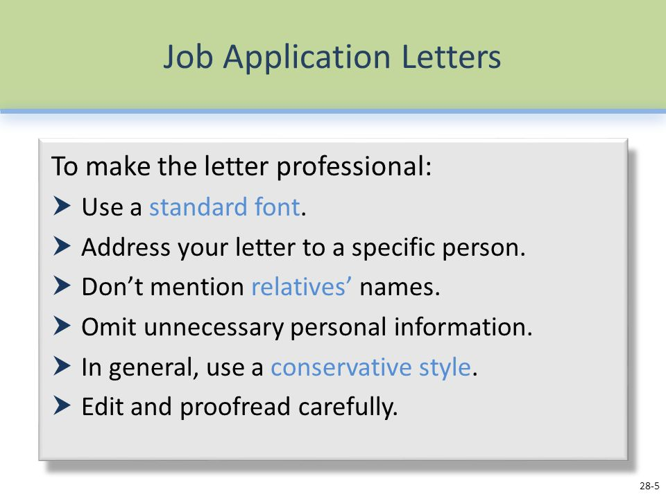 Job Application Letters - Ppt Video Online Download