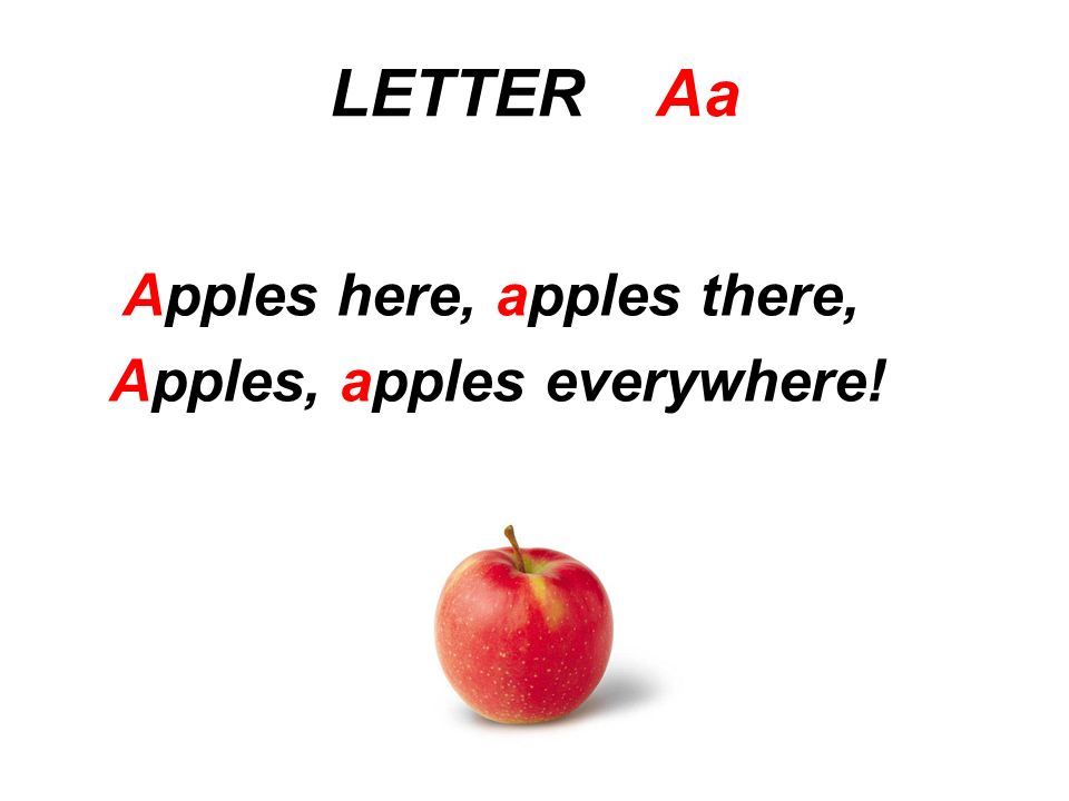 LETTER Aa Apples here, apples there, Apples, apples everywhere!
