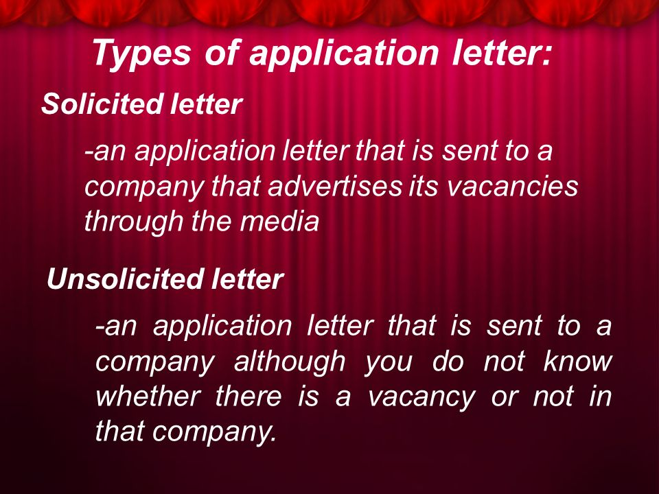 all types of application letter