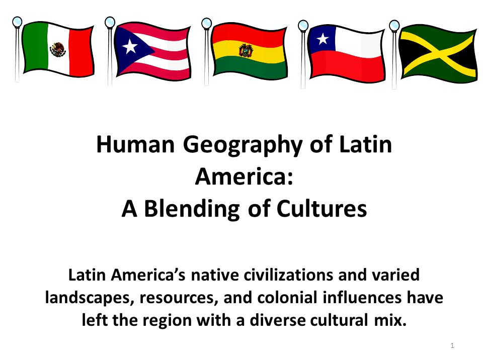 an introduction to the geography and culture of latin american countries Start studying world geography exam 3 vocabulary review and africans created a culture distinctive to latin a number of latin american countries were ruled.