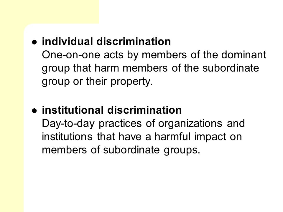 relationship between dominant and subordinate groups