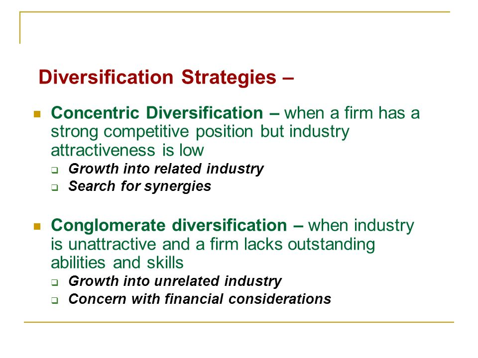 Diversification strategy examples ppt