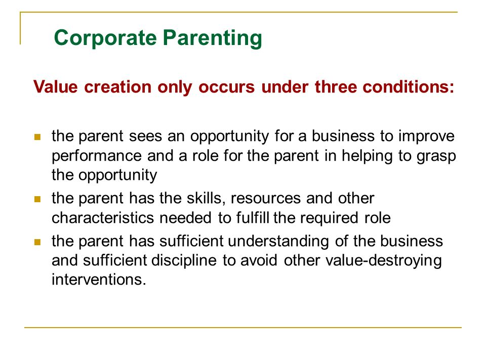 corporate strategy and parenting
