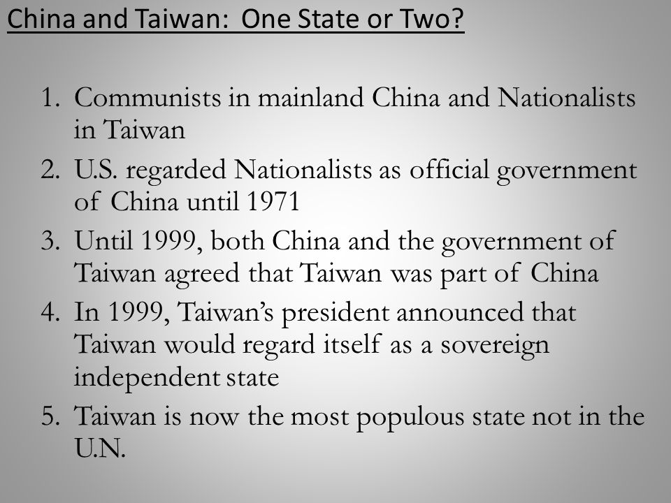 The status of taiwan and the one china principle