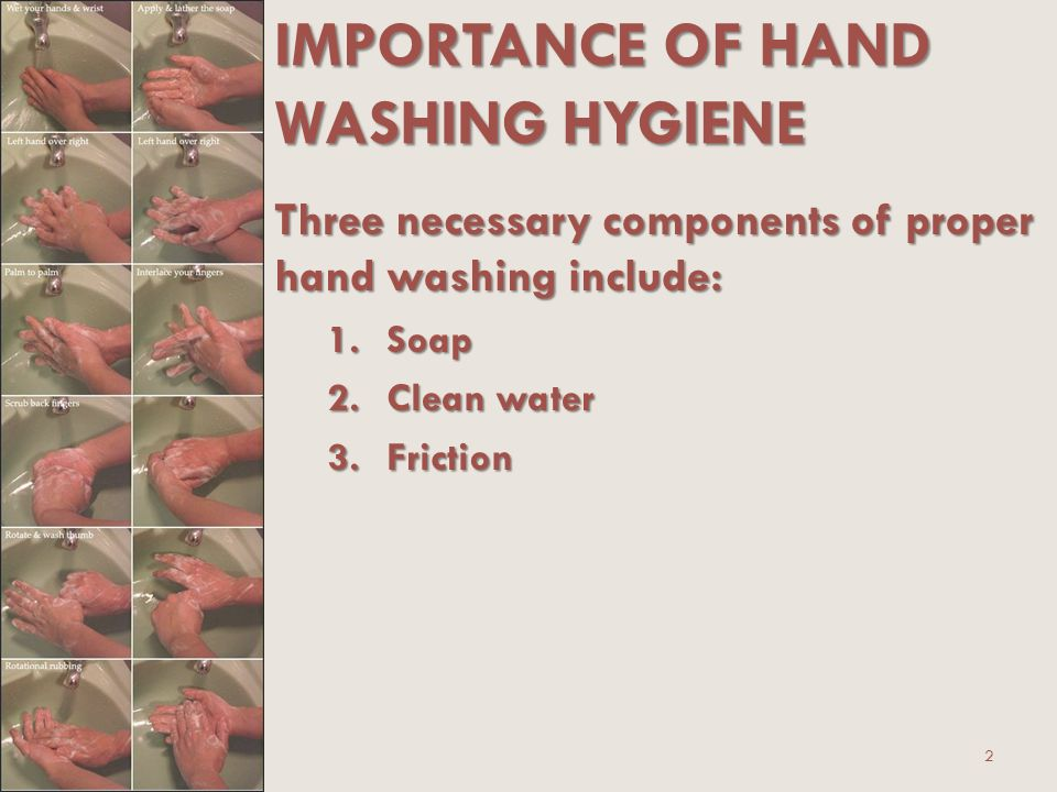 the importance of hands hygiene The importance of hand hygiene in preventing infections is well handrubs are the preferred method of hand hygiene unless hands are visibly soiled because.