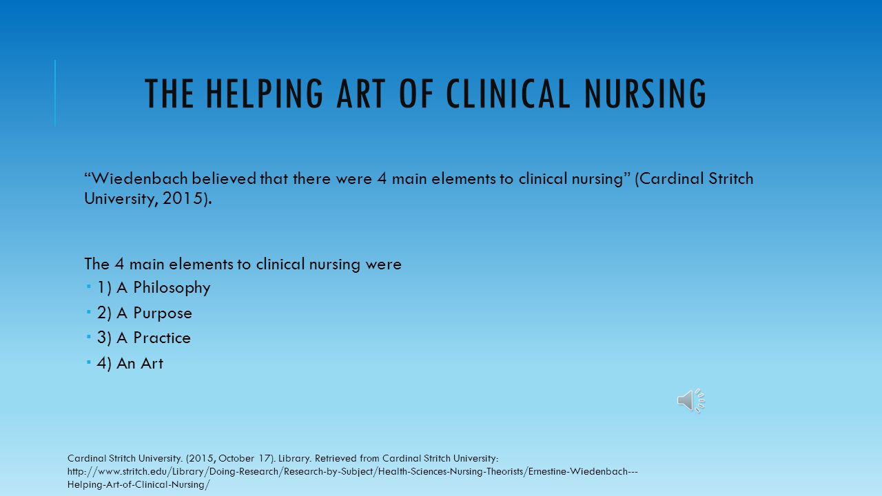 What Are The Six Main Elements Of Art : Ernestine wiedenbach the helping art of clinical nursing