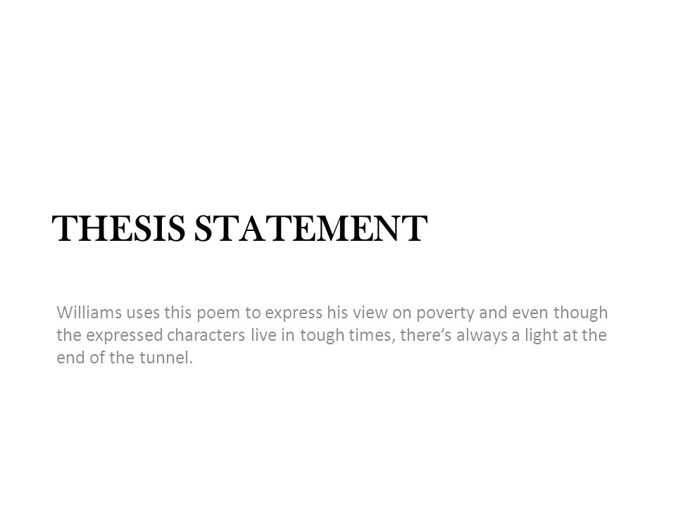 Racism and poverty thesis statement