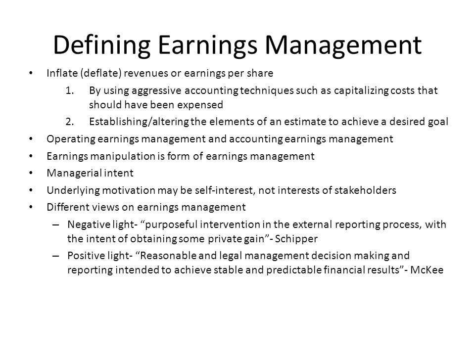 ethics and managing earnings Is managing earnings ethically acceptable survey shows age and seniority affect attitudes on earnings management by kenneth rosenzweig, cma, and marilyn fischer.