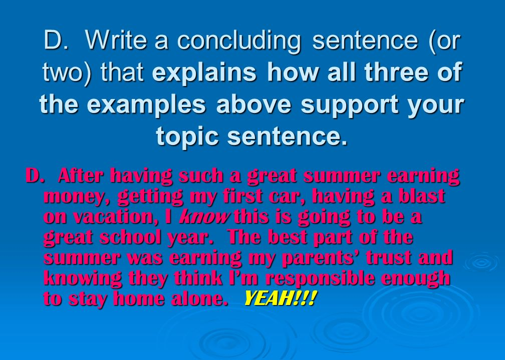 how to write a topic sentence for a conclusion paragraph