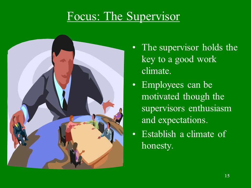 Focus: The Supervisor The supervisor holds the key to a good work climate.