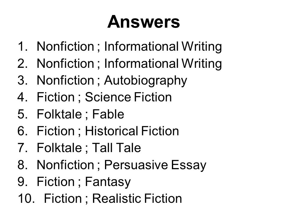 genre and subgenre categories of writing ppt 23 answers nonfiction informational writing nonfiction autobiography fiction science