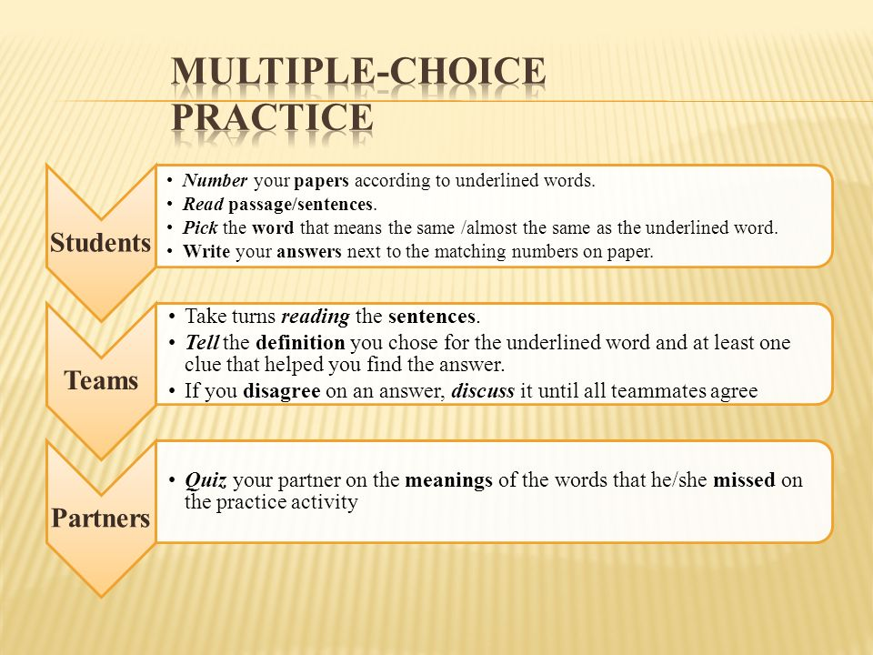 Multiple choice Exercises