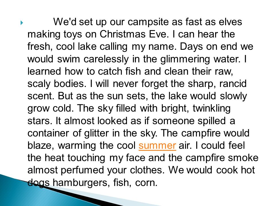 a descriptive essay ppt video online  we d set up our campsite as fast as elves making toys on christmas eve